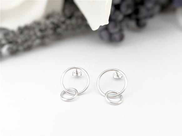 Two Circles stud earrings in sterling silver